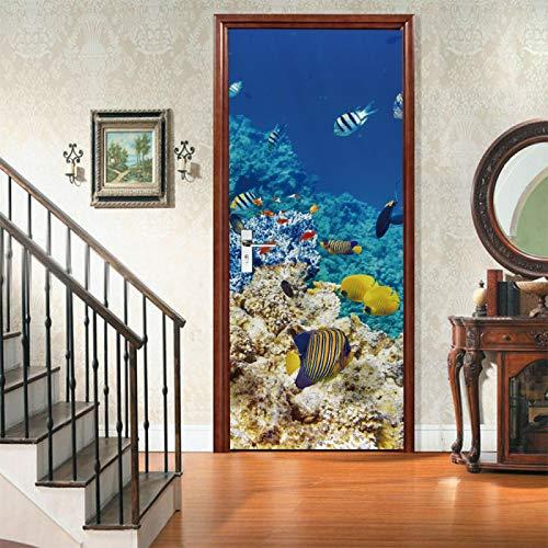 RGAHOT Murales Para Puertas Peces pequeños de animales marinos 3D Papel Pintado Puertas Autoadhesivo Cocina Sala de Baño impermeable Desmontable Vinilos Póster DIY Arte Casera Decoración 77x200cm