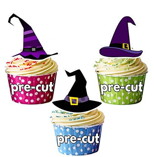 Vorgeschnittene Halloween Hexenhüte - Essbare Cupcake Topper / Kuchendekorationen (12 Stück)