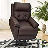 Esright Electric Power Lift Recliner Chair Sofa for Elderly, Faux Leather Recliner Chair with Heated Vibration Massage, Heavy Duty&Safety Motion Reclining Mechanism, Side Pocket&USB Port, Brown