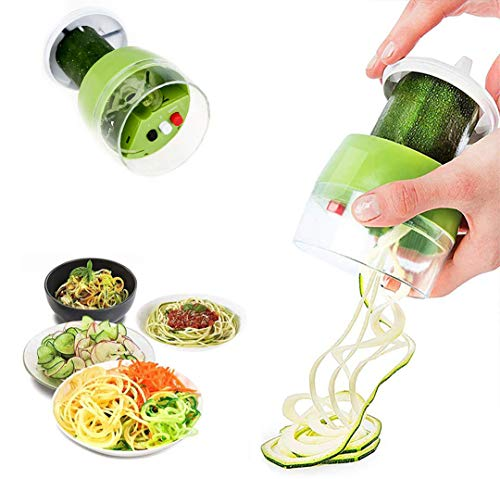 Cortador de Verdura 4 en 1 Espaguetis Vegetales Espiralizador Vegetal Slicer Calabacin Pasta Adecuado para Zanahorias Pepinos Cortador Espiral Manual (Verde)