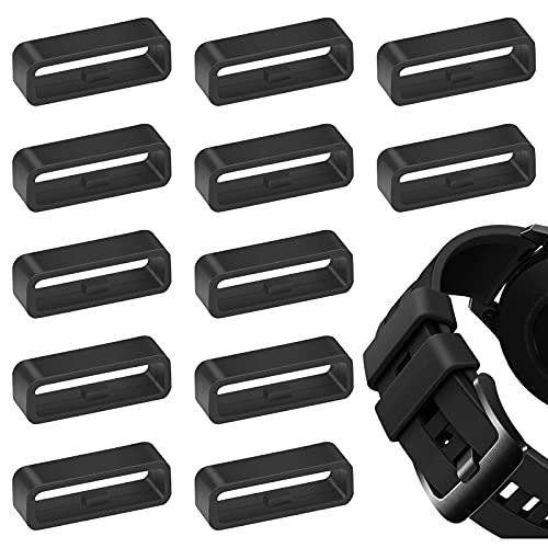 Retenedor de Correa Negro 12 Piezas Anillo de Cierre Compatible de Plástico, Bucles de Banda de Reloj Accesorios , Hebilla de Caucho de Anillo de Banda Estable de 22mm para Fijar Reloj