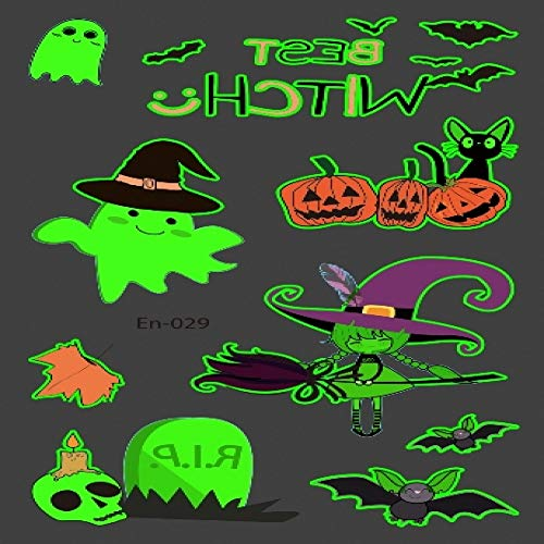 adgkitb 5piezas Tatuaje de Halloween para niños Brillante Oscuro Impermeable Falso Tatuaje Luminoso Tatuaje Pegatinas Arte Dibujos Animados Tatto en-029 12 x 7,5 cm
