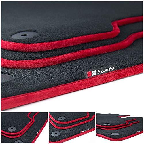 tuning-art LX322 Luxury-Line Velours Fußmatten, Bandeinfassung:Rot