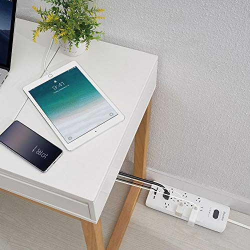 Huntkey 4000 Joules Mountable Power Strip with Widely Space 12 Outlet£¬3 USB Chargers 6 FT Power Cord Surge Protector, Integrated Circuit Breaker, Overload Protection,UL Listed, White