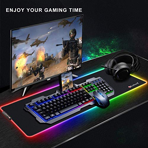 RuoCherg RGB Mauspad, 800 x 300 mm Gaming Mousepad mit 12 Beleuchtungs-Modi, Wasserdicht Anti Rutsch Mouse Matte für Computer PC Professionelle Gamer - 8