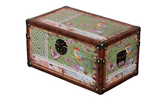 Sarah B Truhe Kiste KD 1515 Deko Truhe Vogel Holztruhe Schatzkiste,Kiste Größe L 35cm x 21cm x 19cm
