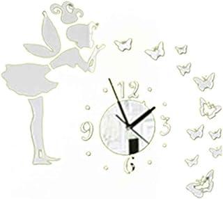 Gankmachine DIY 3D Mariposas Hada Chica Etiqueta de la Pared Espejo Relojes de Pared Oficina Decoración del hogar