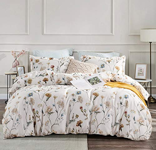 SLEEPBELLA Duvet Cover King Size, Yellow & Blue Flowers Printed on Off-White with Goldenrod Embroidered Flange, 3 Pieces Cotton Comforter Cover with 1 Duvet Cover (No Comforter Insert), 2 Pillow Shams