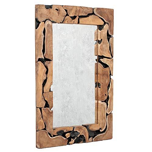 *LEBENSwohnART Teak Spiegel PEDESAAN ca. 120x85cm Natural Wandspiegel Wurzelholz Massivholz*