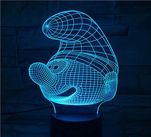 3D Nachtlicht-Schlumpf Vision Light Touch Bunte Verfärbung Dekorative Tischlampe Kann In Der Wohnzimmerbar Verwendet Werden, Dem Besten Geschenkspielzeug
