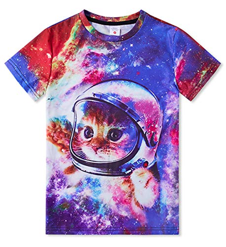 RAISEVERN Short Sleeve Cool Planet Cat Printed T Shirt Funny Crew Neck Tshirt Tee Tops for Teen Boys Girls Medium