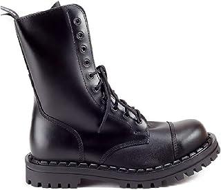 Altercore Botas Militares Negro Cuero Unisex Mujer Hombre 10 Ojales Army Punk Puntera de Acero Ranger