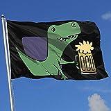 Elaine-Shop Drapeaux d'extérieur T-Rex Dinosaure Boire de la Bière 4 * 6 Ft Drapeau pour La Décoration Intérieure Sport Fan Football Basket-Ball Baseball Hockey
