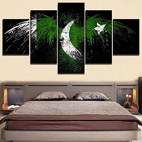 MLDN 5 Teilig Art Bilder Leinwand Wand Bild Poster Wand Art Brettmalerei Moderne Kunst Hd Print Flagge von Pakistan. 5 Stück Wohnzimmer Dekoration Bild Abstrakt drucke Rahmen