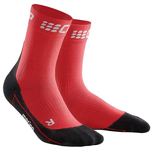 CEP – Winter Short Socks für Herren | Warme Laufsocken mit Kompressionswirkung in rot/schwarz | Größe III