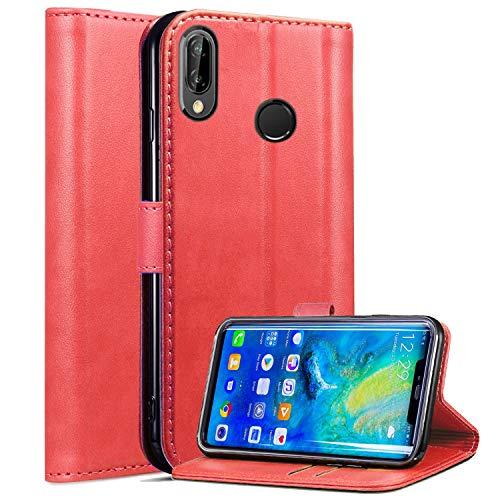 Roba de Cellulare Huawei P Smart 2019 / Huawei Honor 10 Lite Custodia, Custodia in Pelle Magnetica a Rilievo Magnetica con Supporto per Stand Integrato per Huawei P Smart 2019 (Red)