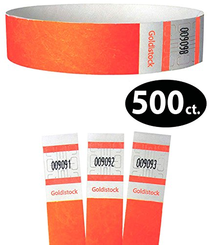 Goldistock Select Series – 3/10,2 cm Tyvek Wristbands Day Glow arancione fluo 500 count – Event identificazione fasce (Paper – like texture)