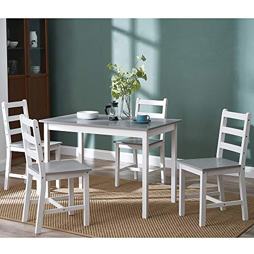 Panana Wooden Pine Dining Table with 4 Chairs in Choice of Colors Dining Room Furniture Set (Grey with White)