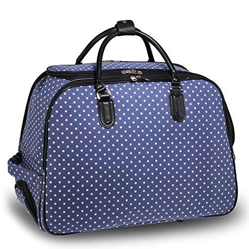 Wheeled Travel Luggage Bag Trolley Large for Men Women Ladies Weekend Handbag On Wheels - Cabin Approved, Design 1 - Navy