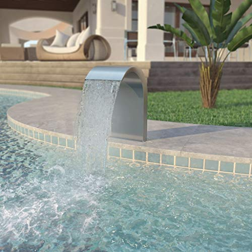 Zora Walter Outdoor Garden Swimming Pool-Brunnen Edelstahl Silber Above Ground Fountain with Size:45 x 30 x 65 cm