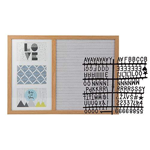 KASA Tablero de Letros para Mensajes con Marco de Fotos, 3 Fotos, Madera y Fieltro