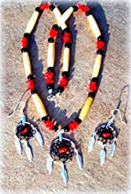 DREAMCATCHER Necklace & earring set, Native American made dream catcher, Coral elk bone, black onyx necklace, dreamcatcher earrings, black dream catcher, Choctaw/ Cherokee made