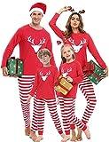 iClosam Pijamas de Navidad Familia Conjunto 2 Piezas Algodón,Raya Ciervo Ropa para Dormir Navideños para Mujeres Hombres Niño Bebé