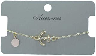 women gold bracelet in anchor design with shiny crystals