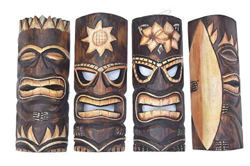Interlifestyle 4 Tiki Máscaras 30cm en Tribal Maui Buscar Estilo 4er Set Máscaras de Madera Máscara de Pared Surfer Sol