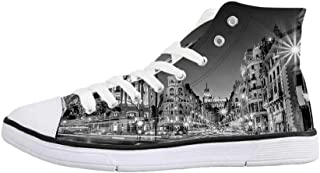 Black and White Decorations Comfortable High Top Canvas Shoes,Idyllic Sunrise at Beach Rippled Seashore Dramatic Image for Women Girls,US 5