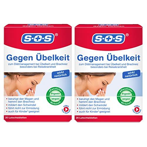 SOS Gegen Übelkeit, Lutschtabletten zur Hemmung von Übelkeit und Brechreiz, besonders bei Reisekrankheit, mit Ingwer-Extrakt und geeignet für Kinder ab 6 Jahren (2)