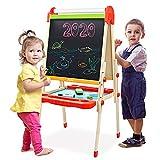 Joyooss Kids Wooden Art Easel with Paper Roll -Double Sided Whiteboard & Chalkboard