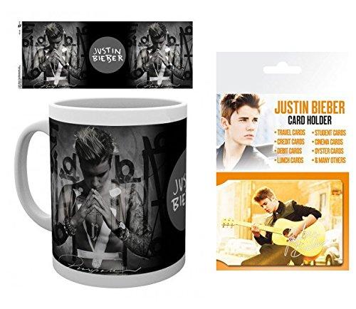 1art1 Justin Bieber, Purpose Taza Foto (9x8 cm) Y 1 Justin Bieber, Tarjeteros para Tarjetas De Crédito (10x7 cm)