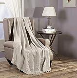 Brussels Super Soft Lightweight Pre-Washed Belgian Flax Linen Reversible Throw Blanket, 50' x 70' - Natural Linen Color