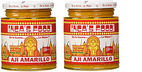 Inca's Food Aji Amarillo Paste - Hot Yellow Pepper Paste, 7.5 Oz Jar - Product of Peru (Pack of 2)
