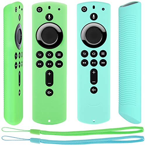 [2 Pack] Remote Cover Compatible with Fire TV Stick 4K Alexa Voice Remote Control, Lightweight Anti Slip Shockproof Protective Sleeve (Mint+Green)