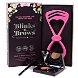 Blinks n Brows Eyebrow Shaping Kit for Women - Reusable Brow Shaper Tool & Makeup Set - Includes Easy-to-Use Eyebrow Stencil - Duo Eyebrow Powders - Mini Brush & Long Brush