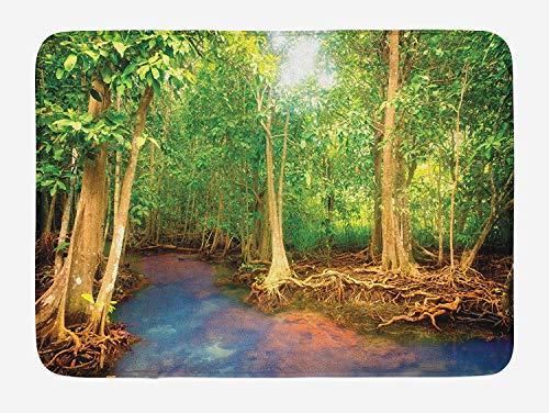 Duschmatte,Teppich,Fußabtreter,Bodenmatte,Badezimmerteppich,Regenwald Fußmatte Wurzeln Von Mangrovenbäumen Mit Turquoise Creek Asian Nature Wildlife Themed Print