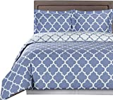 Royal Hotel Periwinkle and White Meridian King/Cal-King 3-Piece Duvet-Cover-Set, 100% Cotton 300 TC