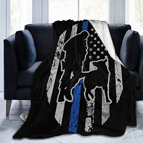 YGD-njs Police K-9 Thin Blue Line USA Flag Soft and Warm Throw Blanket Plush Bed Couch Living Room Fleece Blanket 50'x40'60'x50'80'x60'