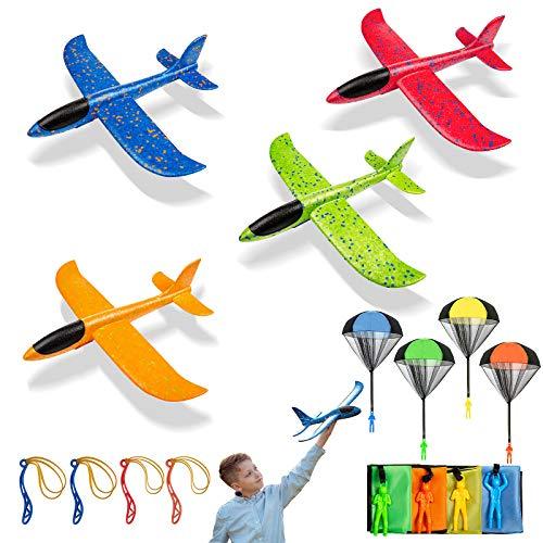 Niños Planos de Espuma, 4 PCS Avión Planeador + 4 PCS Juguete de Paracaídas, Juguete Paracaídas...