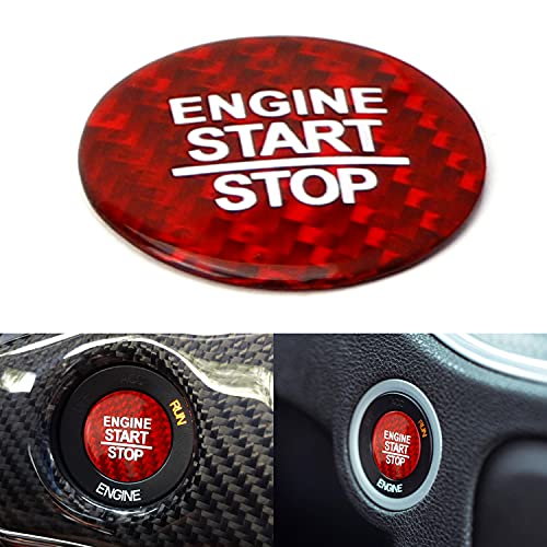 iJDMTOY Gloss Red Real Carbon Fiber Keyless Engine Start/Stop Push Start Button Cover Compatible with Dodge Charger Challenger Durango Chrysler 300 Jeep Grand Cherokee