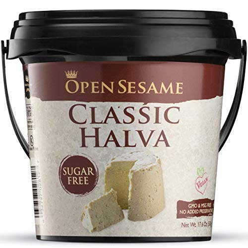 Open Sesame Halva Vegan Dessert | Clean & Healthy Ingredients, Sugar & Gluten Free, Kosher Certified, No GMO & MSG | 100% Pure Sesame Seeds, Handmade Jewish Treat w/ Various Flavors, 17.6oz Bucket