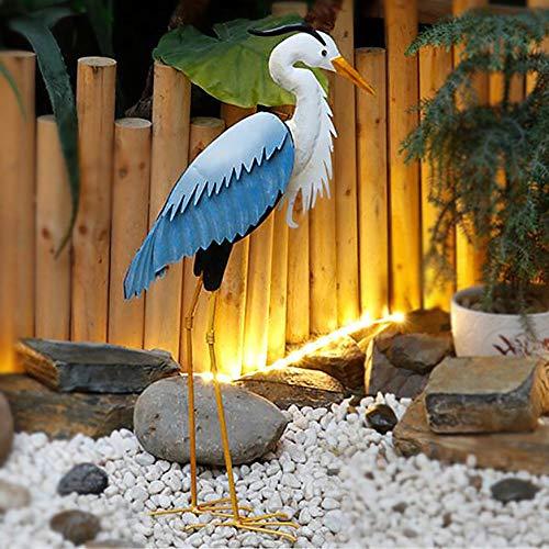 zenggp Metal BIRDS Garden Ornament Heron Ornament Sculpture Decoration Statue Lawn Egret Feature,A+Height70cm