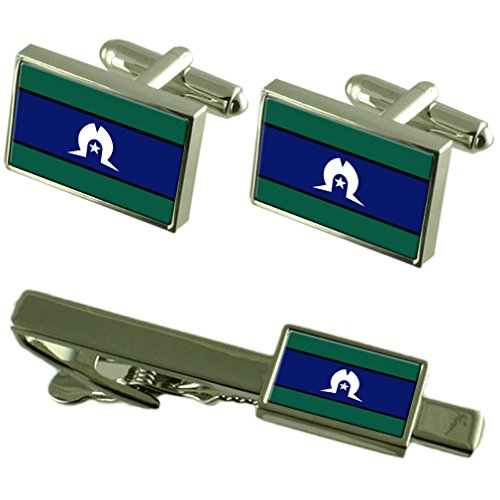 Select Gifts Torres Strait Islanders Flag Cufflinks Tie Clip Matching Box Gift Set