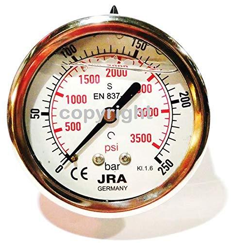 """JRA-Longlife Glyzerin Manometer 0-250 bar NG63 Anschluss hinten G1/4"""""""