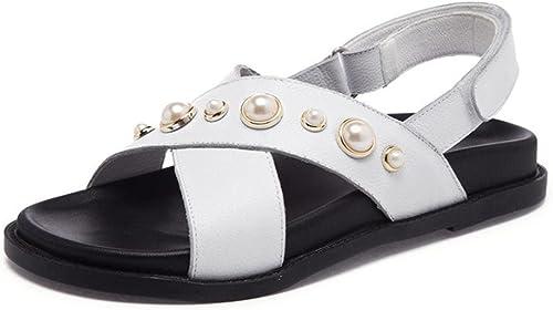 Les femmes perles sandales sandales sandales d'été des femmes pantoufles plates femmes  mieux acheter