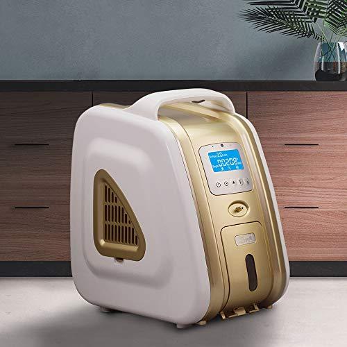 HUKOER Concentrador de oxígeno de oro 1-5 l/min Generador de concentrador de oxígeno doméstico ajustable 90% ± 3% Purificador de aire portátil de alta pureza Generador de oxígeno para automóvil