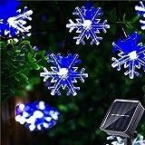 HUGSVIK 50 LED Solar Snowflake Lights String, 8 Modes Solar Christmas Lights...