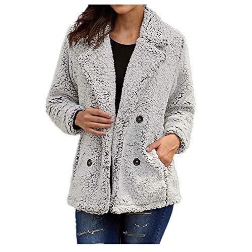 NOBRAND - Abrigo grueso de invierno para mujer con solapa caliente de manga larga de felpa Gris gris M